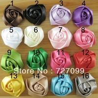 Free Shipping!! 4cm Handmade Satin Rose DIY Garment Flower mix Color 150pcs/lot