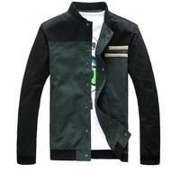 Free shipping 2013 new item Knitted collar men's jacket male patchwork long-sleeve jacket outerwear M L XL XXL