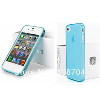 Free Shipping  CN 100pcs/lot  shell mobile phone sets with dust plug TPU case cover for iphone 4 / 4s
