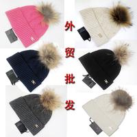 Elisabetta franchi female winter thermal fox fur ball wool rabbit fur yarn knitted hat