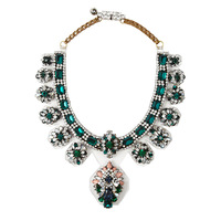 2013 Luxury turquoise crystal shourouk necklaces fashion statement necklace vintage PVC film necklaces & pendants  Free Shipping