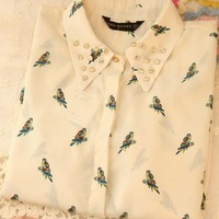 Fashion Women's New Rivet Parrot Becomes Sleeve Collar Shirt Printing Tops