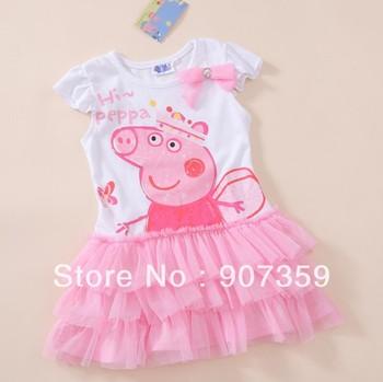 Peppa Pig Girl's Cartoon Dress Children TUTU Dress Cotton One-Piece Short Sleeve Skirt Pink Free Shiping 25pcs/lot