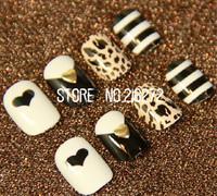Big Discount! 24pcs/set  2013 Hot new fashion woman nail decoration Love Leopard finger fake nails tips free shipping