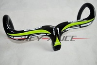 Free Shipping New Arrival Full Carbon Fibre Integrated Handlebar/Road Bicycle Handlebar/420*90mm/440*100mm/Green/bike handlebar