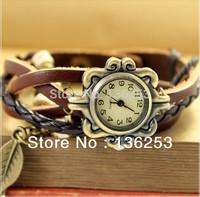 Wholesale 100pcs/lot Genuine leather quartz ladies women dress leather strap vintage bracelet watch leaf pendant  free shipping