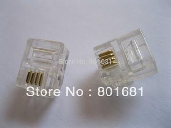 Free Shipping +100 pcs RJ11 6P4C Modular Plug Telephone Connector 6p4c plug