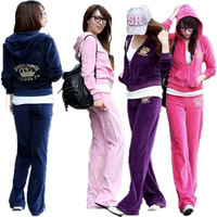 2013 winter for women hoodie the sport suit  rhinestones embroidery velvet sweatshirt set casual sports set