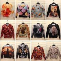 Free Shipping New 2013 Winter Women/Men Space print Galaxy hoodies Pullovers panda/tiger/cat animal 3D sport Sweatshirt top