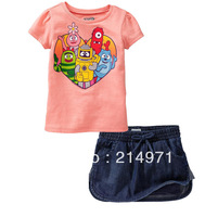 Free shipping,Cute cartoon girls love denim with short sleeves girls jeans sets baby clothing sets 6sets/lot