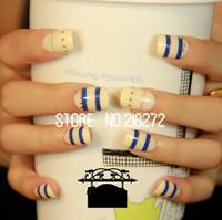 Big Discount! 24pcs/set  2013 Hot new fashion woman nail decoration Navy Style finger fake nails tips jewelry free shipping