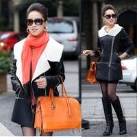 2013 women's fashion slim medium-long plus size leather clothing berber fleece fur one piece female outerwear