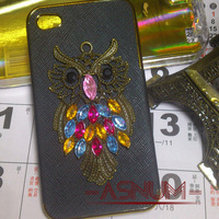 1 pcs New Arrival 3D Luxurious Diamond Owl Case For iPhone 4 4S & 5 With OPP Bag ! Free Shipping