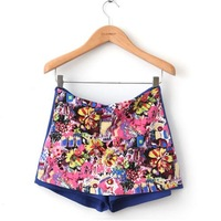 New Fashion Desinger Women's Colorful Floral Printed  Casual Pants Ladies' Shorts