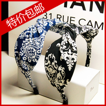 Blue and white porcelain national volvulus trend bow belt spirally-wound headband hair pin broadside hair bands