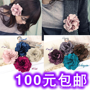 6pcs B298 small jewelry wholesale large rose flower hair clips headdressflower brooch dual purpose