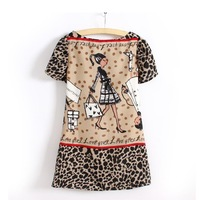 2013 Hot Selling New Fashion Designer Carton Pattern Women's Cute One_Piece Dress
