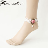 White lace flower pearl anklet fashion vintage personality accessories