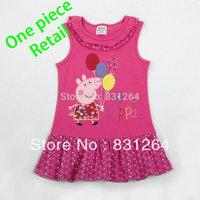 Free Shipping New 2014 Nova Kids Todder Girl Ruffle 100%Cotton Cute Dress Embroidery Peppa Pig Sleeveless  Dress