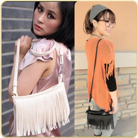 Korea Style 2013 Fashion Women's TASSEL CROSS BODY Bags White Black Brown Colors Free Shipping B13001