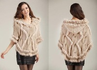 Fur Cape 2013 Women's Rabbit fur Poncho Hot Style Retail Wholesales Rabbit Fur cap Free Shipping ZX0360