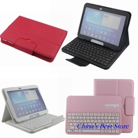 Free shipping Removable Bluetooth ABS Keyboard Leather Case For Samsung Galaxy Tab 3 10.1 P5200 P5210 P5220