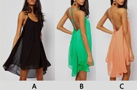 fashion new 2013 Sexy Women Chiffon Backless Sling Strap Back Club Mini Party evening  Dress