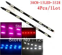 Factory sale 4pcs/lot 30CM 15SMD LED Flexible Strip Light Bar LED car drl Light Car Lighting waterproof. free shipping
