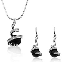 LS195 18K White Gold / Platinum Plated Item Black Simulated Pearl Crystal Pendant Necklace Drop Earring Jewelry Sets Accessories