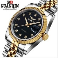 Guanqin Super Brand Hot-selling Automatic Mechanical Mens 316L Steel Male Inner Gold Luxury Business Watch