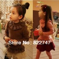 Free Shipping Wholesale(5 Size/Lot) 2014 Childrens Kids Girls Autumn Princess All-Match Gentlewomen Lace Basic T-Shirt