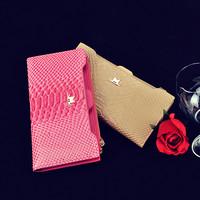 2014 fashion crocodile pattern women's long design wallet card holder genuine leather clutch g-079