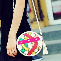 Cat bag 2014 small bag print bag candy color women's all-match tassel handbag round package m06-153