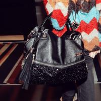 Cat bag 2014 leopard print paillette bag one shoulder handbag female bags m06-124