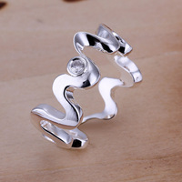Wholesale! Free Shipping! High Quality 925 Silver Fashion Jewelry, Inlaid Waves Ring R029