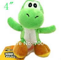 "6pcs Super Mario Bros Green Yoshi Plush Doll 4"" Key Chain Mini Charm Plush Toy"