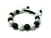 10mm Black Matte and White Howlite Bead Shamballa Bracelet Free Shipping