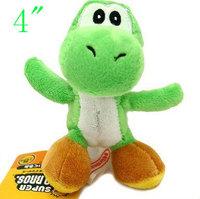 "16pcs Super Mario Bros Green Yoshi Plush Doll 4"" Key Chain Mini Charm Plush Toy"