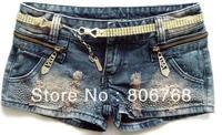 Free shipping zipper paillette ornament pockets shorts for summer free size denim shorts women