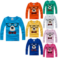 Free Shipping 2013 autumn child glasses dog male female child baby long-sleeve T-shirt 100% 1148 basic cotton shirt
