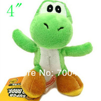 "FREE SHIPPING100pcs Super Mario Bros Green Yoshi Plush Doll 4"" Key Chain Mini Charm Plush Toy"