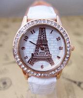 Wholesale Watch brand  Eiffel Tower watches Crystal rhinestone women dress quartz  wristwatch High quality wristwatches go059