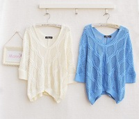 Free shipping ! 2013 New Casual v -neck hollow women's sweaters