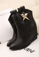 Fall 2013 Women's high heel ankle boot wedges bootie shoe mental star design black white