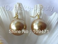 big 20mm round champagne south sea shell pearl dangle earrings 14K gold