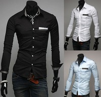 Free Shipping 2013 Brand New Men's Fashion England Business Casual Slim Pure Color Long Sleeve Shirt Cotton Leisure Shirts