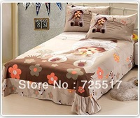 Free DHL Shipping 100% Cotton Material Hot Sale Cute MONCHHICHI Bedding Set Covers 3pcs Bed Quilt/Sheet/Pillow Case