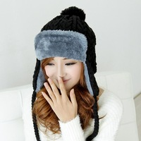 """LASION"" 2013 hot  Selling Plush Earflap Hat, Knitting warm hat # MZ-01"