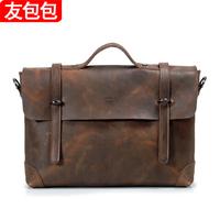 Crazy horse leather handmade messenger bag vintage briefcase handbag messenger bag man bag commercial cowhide genuine leather