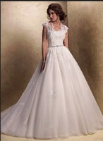 Free shipping A line White Cap Sleeve Lace Wedding Dress 2013 with Beading Decoration Low Back See through